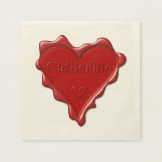 Catherine. Red heart wax seal with name Catherine. Paper Napkins