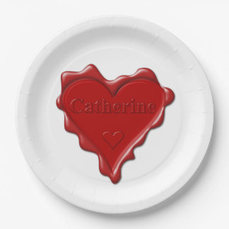 Catherine. Red heart wax seal with name Catherine. Paper Plate