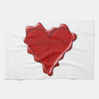 Catherine. Red heart wax seal with name Catherine. Tea Towel