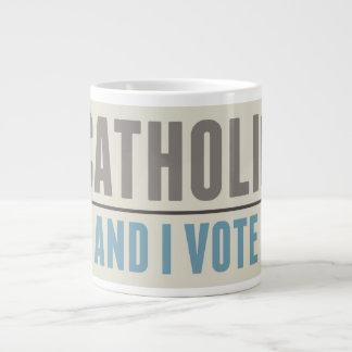 Catholic And I Vote Large Coffee Mug