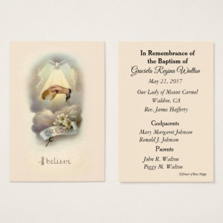 Catholic Baby Baptismal Remembrance Holy Card