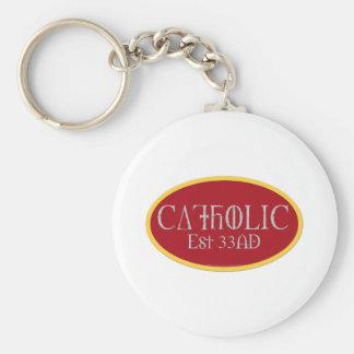 Catholic Basic Round Button Key Ring