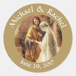 Catholic Bride Groom Wedding Favors Classic Round Sticker