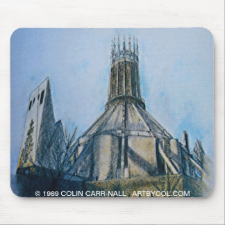 Catholic Cathedral Liverpool by Colin Carr-Nall Mouse Pad