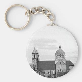 Catholic Church Black and White Fine Art Basic Round Button Key Ring