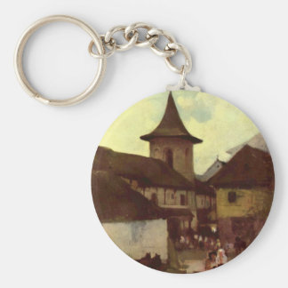 Catholic Church in Cimpulung by Nicolae Grigorescu Basic Round Button Key Ring