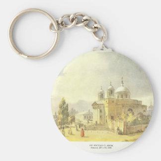 Catholic Church in Kyiv by Taras Shevchenko Basic Round Button Key Ring