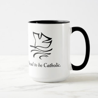 Catholic coffee mug with peace dove.