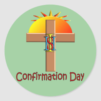 Catholic Confirmation Day for Kids Round Sticker
