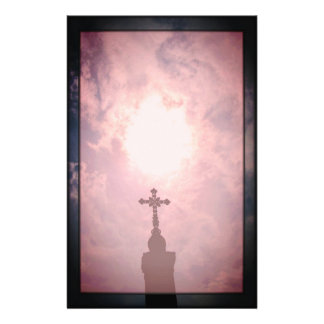 Catholic cross and heavenly portal stationery