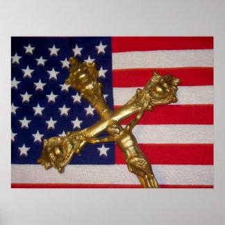Catholic Crucifix USA Flag Poster