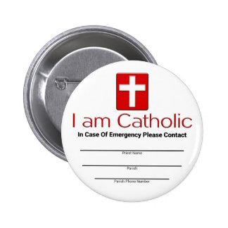 Catholic Emergency Contact Card Pinback Button
