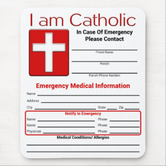 Catholic Emergency Contact Card Mouse Pads