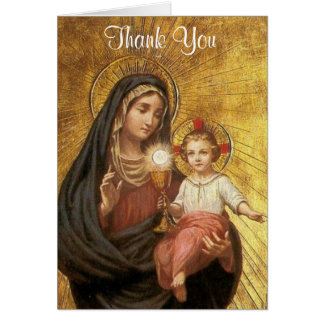 Catholic First Holy Communion Eucharist Thank You Card