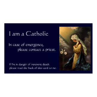 """Catholic ID Card """"in case of emergency"""" Pack Of Standard Business Cards"""