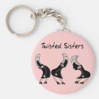 """Catholic Nun Gifts """"Twisted Sisters"""" Design Basic Round Button Key Ring"""