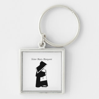Catholic Nun Sister in Habit Custom Name Silver-Colored Square Key Ring