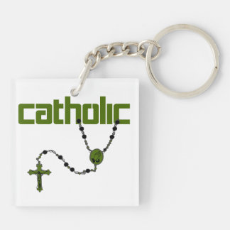 Catholic Rosary Double-Sided Square Acrylic Key Ring