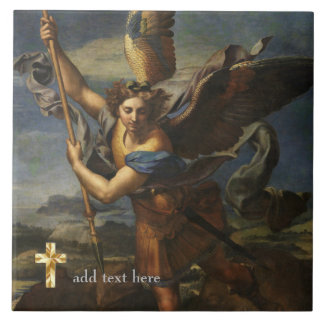 Catholic Saint Michael the Archangel Add Verse Large Square Tile