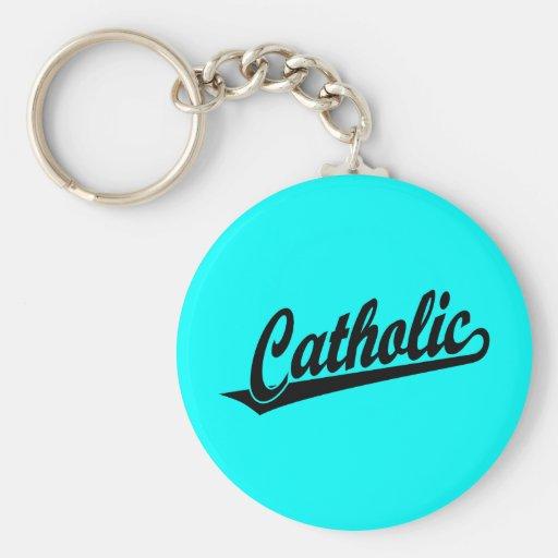 Catholic script logo  in black key chains