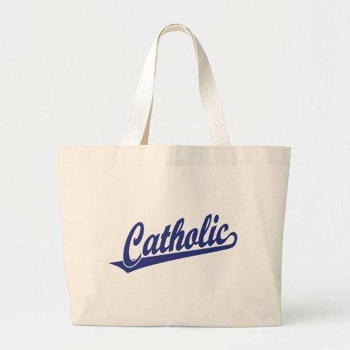 Catholic script logo  in blue canvas bag