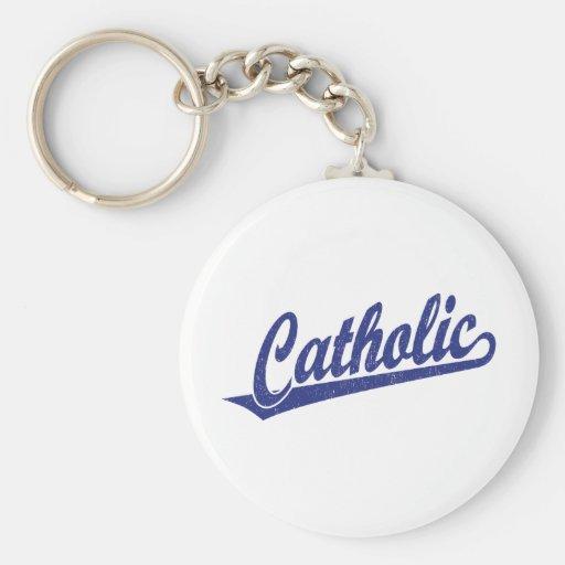 Catholic script logo  in blue distressed key chains