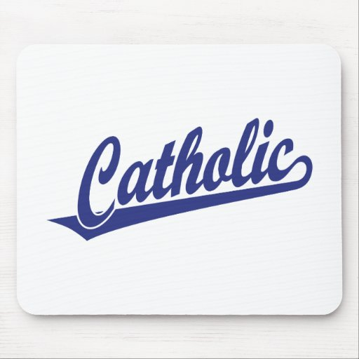 Catholic script logo  in blue mousepad