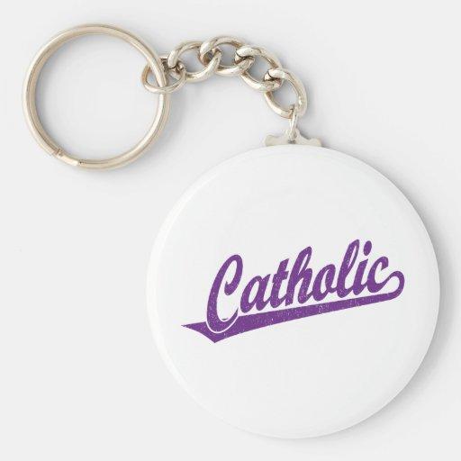 Catholic script logo in purple distressed key chain