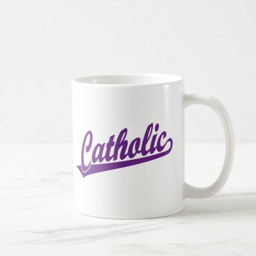 Catholic script logo in purple mug