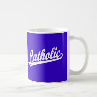 Catholic script logo  in white coffee mug