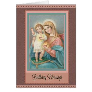 Catholic Virgin Mary Jesus Birthday Note Card