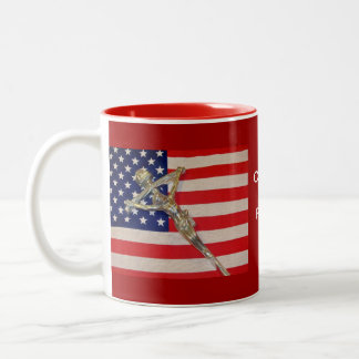 Catholics for Romney 2012 Papal Crucifix USA flag  Two-Tone Coffee Mug