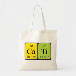Cati periodic table name tote bag