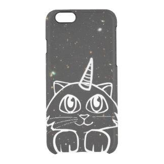 Caticorn Cat Unicorn In Space Galaxy Stars Clear iPhone 6/6S Case