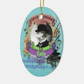 Catie Cat Animal Composer Erik Satie Spoof Ceramic Ornament