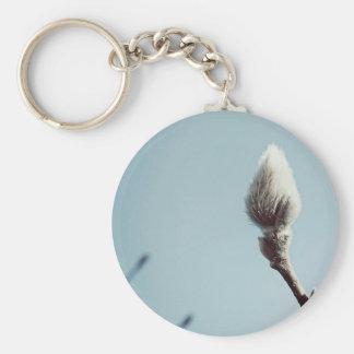 Catkin winter Willow Tree Basic Round Button Key Ring