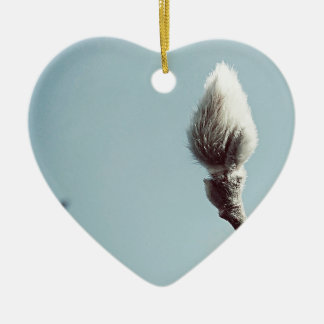 Catkin winter Willow Tree Ceramic Heart Decoration