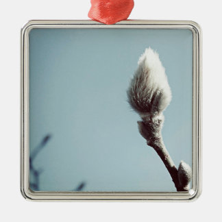Catkin winter Willow Tree Silver-Colored Square Decoration