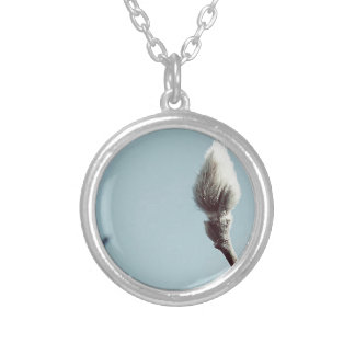 Catkin winter Willow Tree Silver Plated Necklace