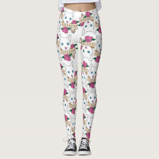 Catlady with Roses Pattern Leggings