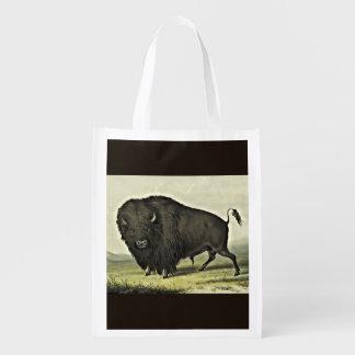 catlin buffalo bull grazing reusable grocery bag