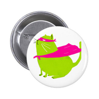 Catman Green 6 Cm Round Badge