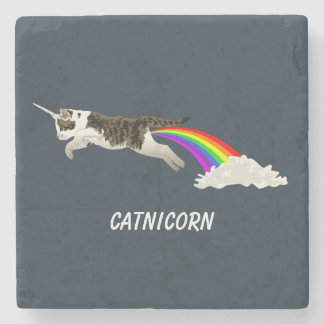 Catnicorn - I Poop Rainbow Stone Coaster