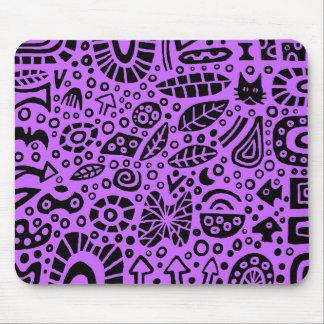 Catnip Dreams - Black on Purple CC66FF Mouse Pad