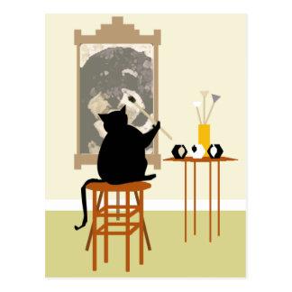 CatPaintingDog Postcard