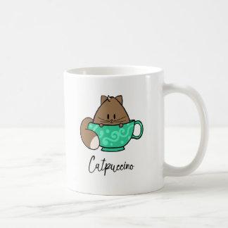 Catpuccino cute cartoon cat in a mug