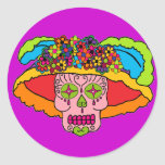 Catrina Sugar Skull Round Sticker