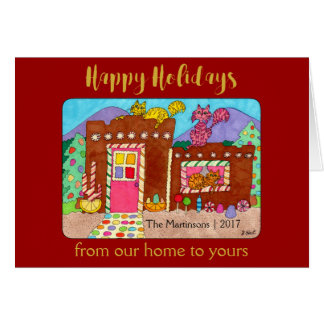Cats & Adobe Gingerbread House Deluxe Holiday Card