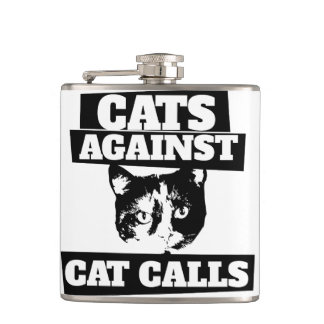 Cats against cat calls hip flask