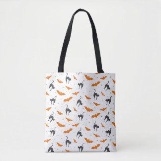 Cats and Bats Halloween Tote Bag